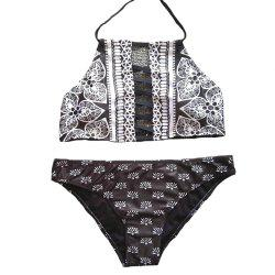 Women's Floral Print Swim Bottom Cutout Spaghetti Strap Halter Strappy Bikini set -