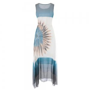 Fashion Women Bohemian Sleeveless Fringe Print Chiffon Dress -