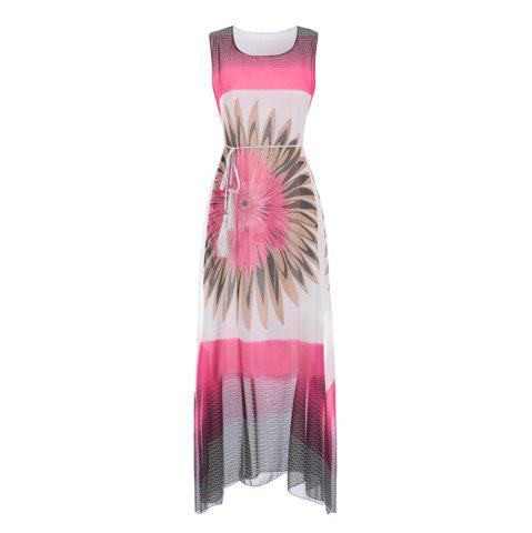Shop Fashion Women Bohemian Sleeveless Fringe Print Chiffon Dress