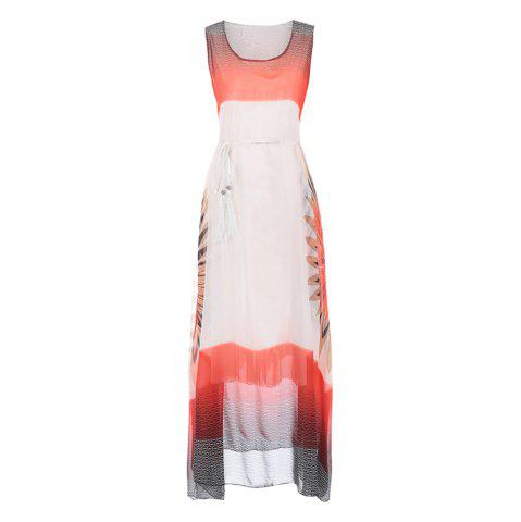Affordable Fashion Women Bohemian Sleeveless Fringe Print Chiffon Dress