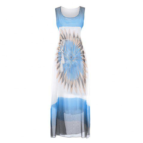 New Fashion Women Bohemian Sleeveless Fringe Print Chiffon Dress