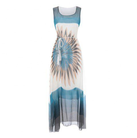 Fashion Fashion Women Bohemian Sleeveless Fringe Print Chiffon Dress