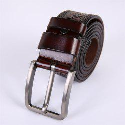 Men'S Steel Buckle Leather Pattern Belt -