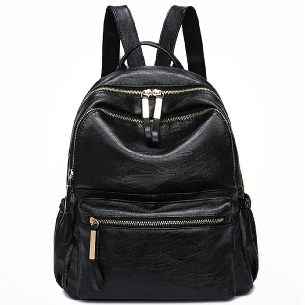 Best PU Leather Women Backpack Fashion Solid School Bags For Teenager Girls  Large Capacity Casual Women af517b2169d69