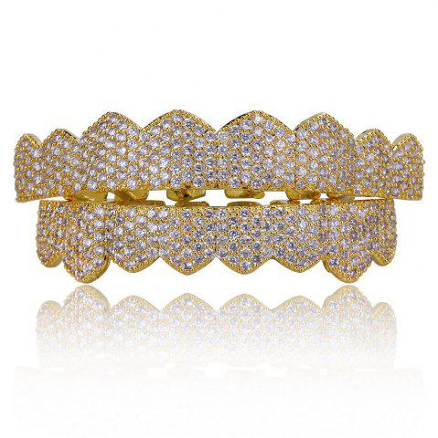 Hip Hop Plaqué Or 18K Micro Pave Cubique Zircon Dents Grillz