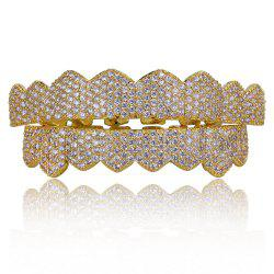 Hip Hop 18K Gold Plated Micro Pave Cubic Zircon Teeth Grillz -