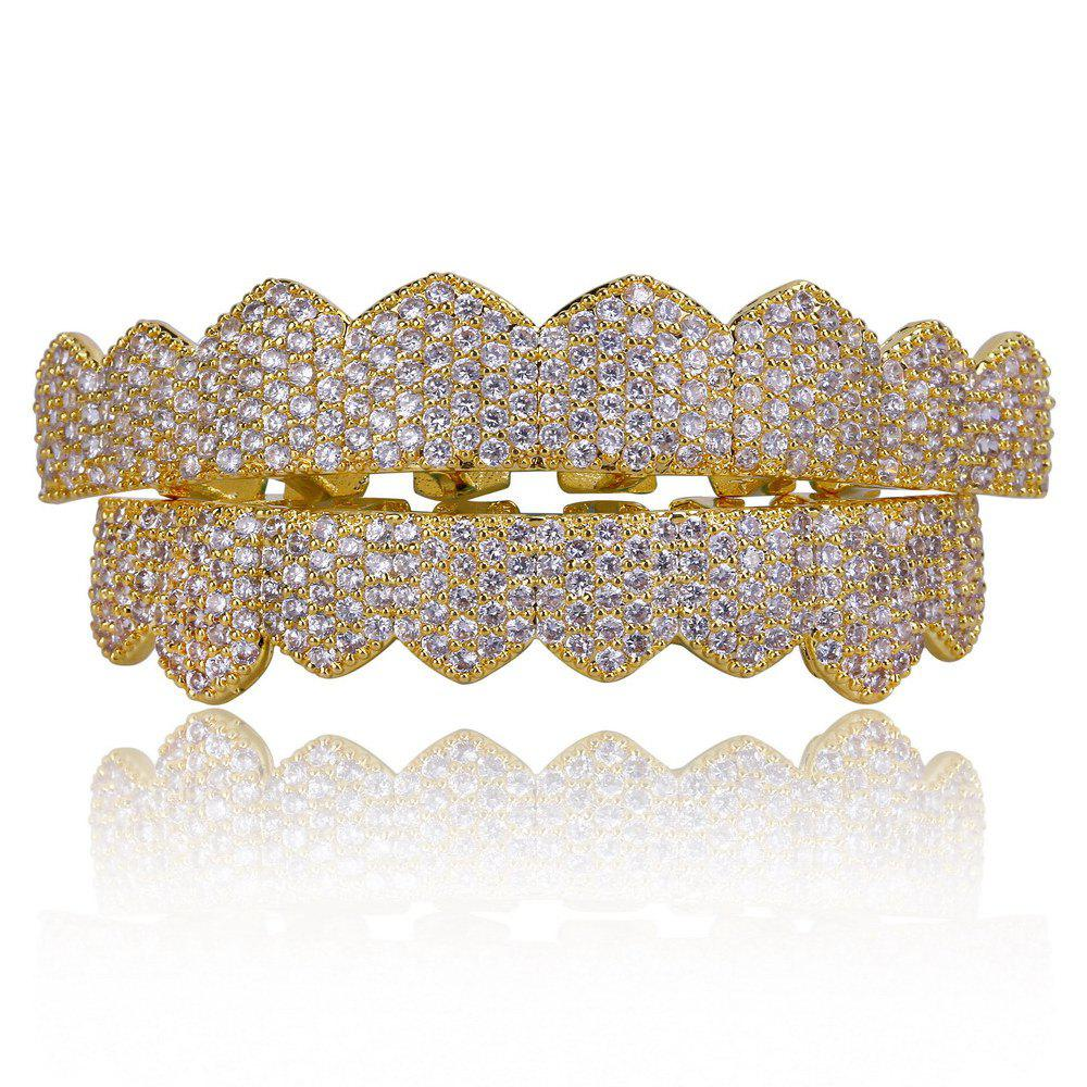 Online Hip Hop 18K Gold Plated Micro Pave Cubic Zircon Teeth Grillz