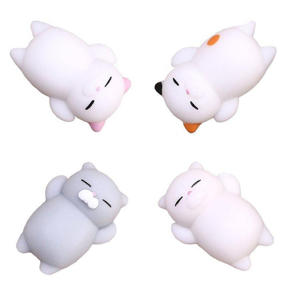 Best Kawaii Cute Mini Cat Slow Rising Soft Squishy Stress Reliever Decompression Toy for Kids Fidget Toy Gift 4PCS