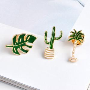 Cartoon Plant Green Brooch Leaves Potted Cactus Palm Plants Metal Pins Clothing Fashion Button Pin Badge Gift Jewelry -