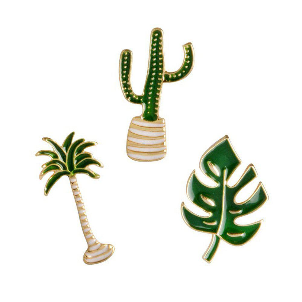 Buy Cartoon Plant Green Brooch Leaves Potted Cactus Palm Plants Metal Pins Clothing Fashion Button Pin Badge Gift Jewelry