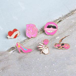 Car Rose Heart High Heels Lips ShoesBrooches Pins Button Denim Jacket Badge Pin for Shirt Bag Gift Jewelry -
