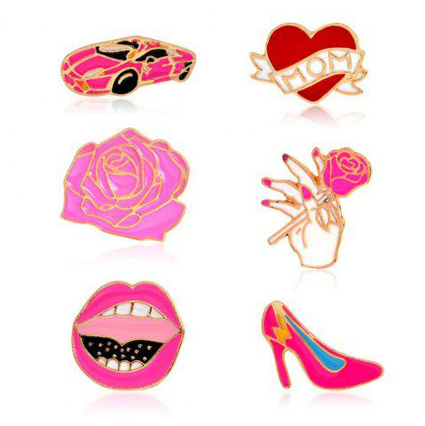 Store Car Rose Heart High Heels Lips ShoesBrooches Pins Button Denim Jacket Badge Pin for Shirt Bag Gift Jewelry