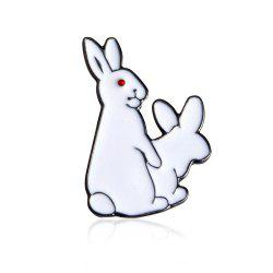 White Rabbits Brooch Enamel Funny Animal Metal Button Pins Bag Jacket Badge Pin Fashion Jewelry -