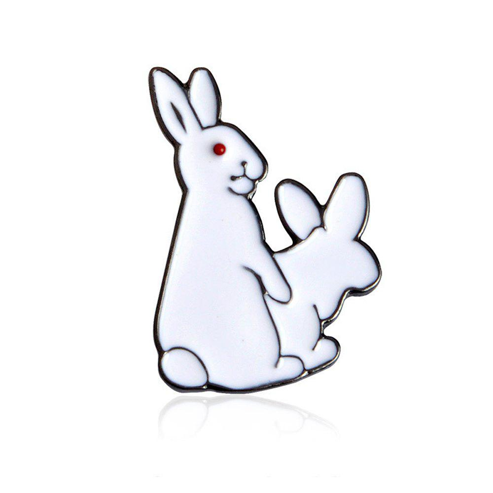 Hot White Rabbits Brooch Enamel Funny Animal Metal Button Pins Bag Jacket Badge Pin Fashion Jewelry