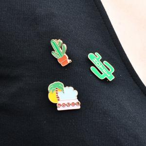 Summer Enamel Brooch Set for Women Cactus Beach Style Set Brooch Necklace Women Jewelry -