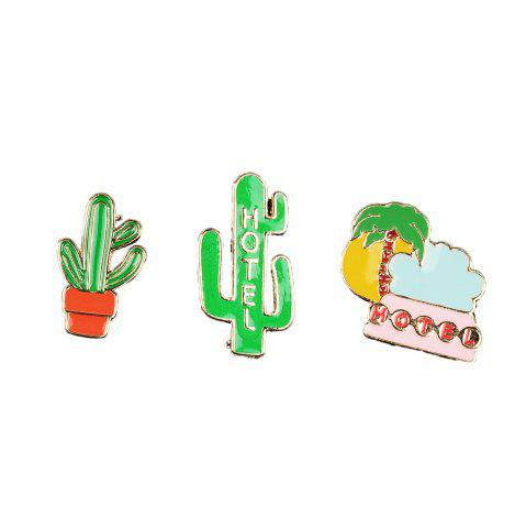 Latest Summer Enamel Brooch Set for Women Cactus Beach Style Set Brooch Necklace Women Jewelry