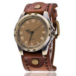 Retro Numeral Roman Women Leather Casual Sport Watch Quartz -