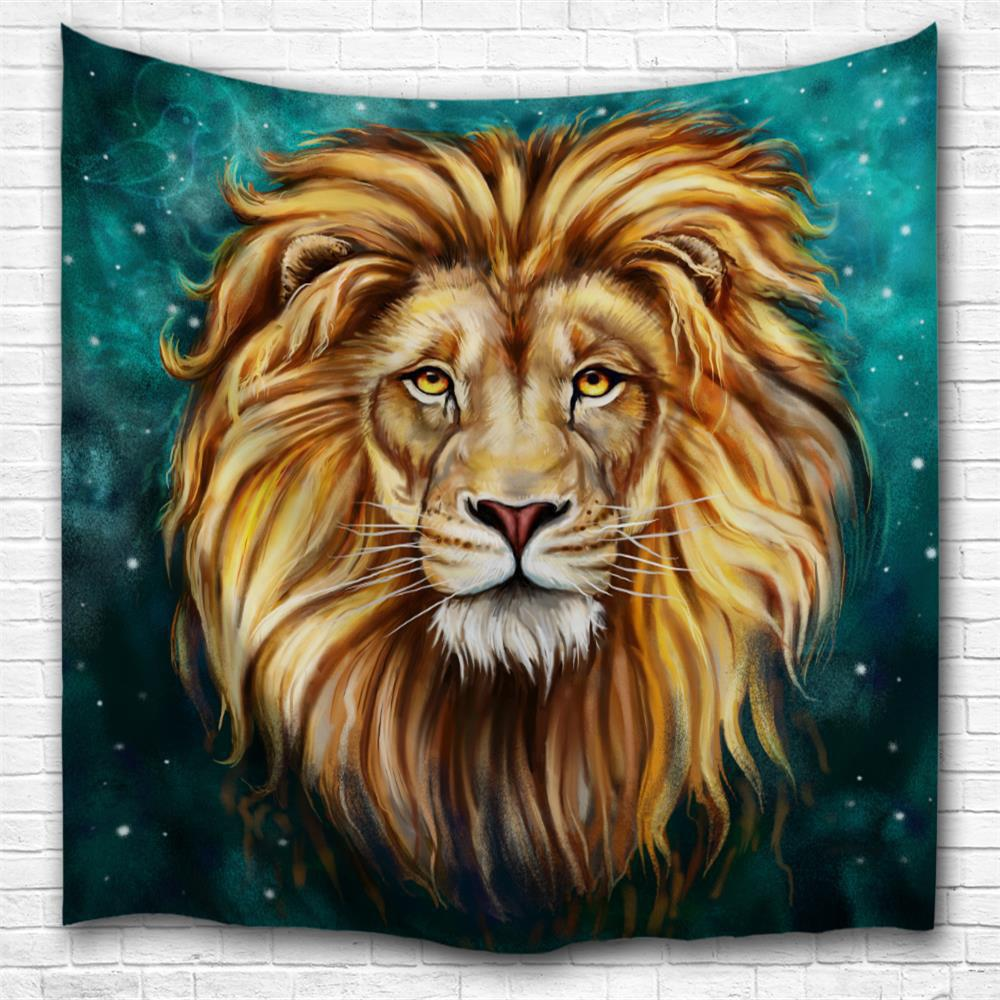 Latest Green Lion King 3D Digital Printing Home Wall Hanging Nature Art Fabric Tapestry for Bedroom Living Room Decorations