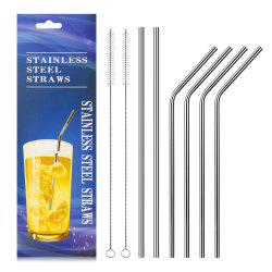 Food Grade Stainless Steel Metal Reusable Drinking Straws Set for Cocktail Latte Iced Tea with 2 Cleaning Brushes -