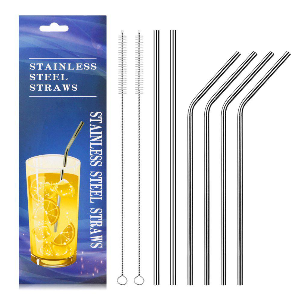 Store Food Grade Stainless Steel Metal Reusable Drinking Straws Set for Cocktail Latte Iced Tea with 2 Cleaning Brushes