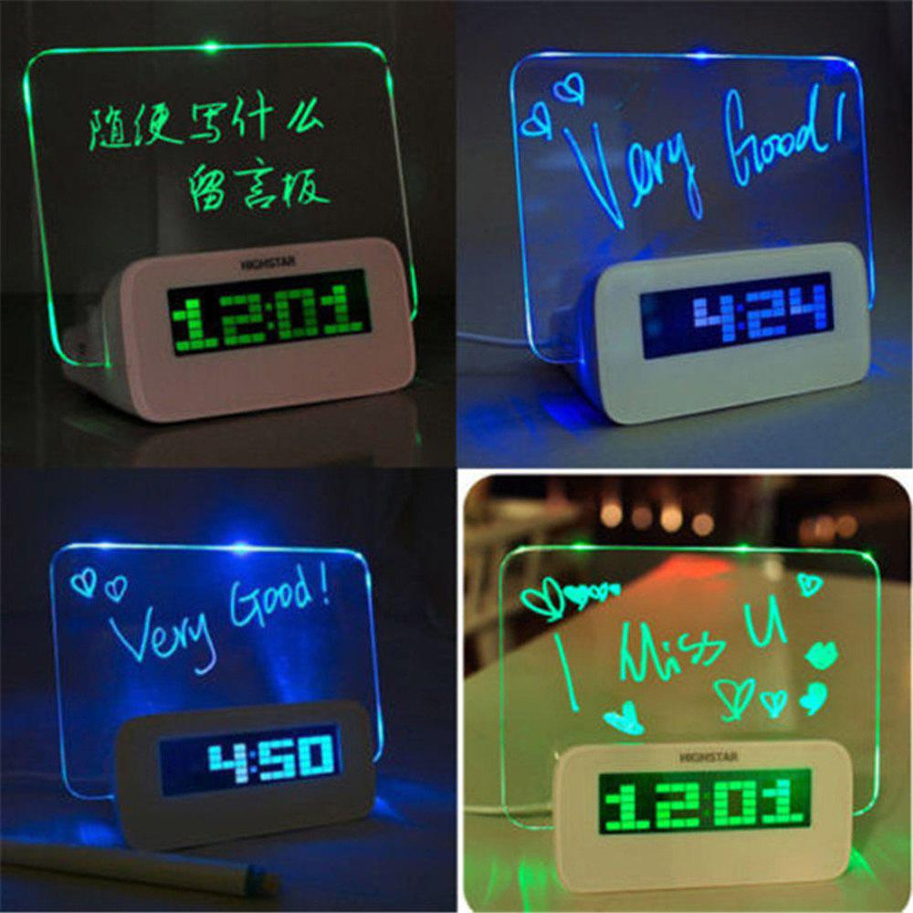 Latest LED Fluorescent Digital Alarm Clock with Message Board  LED Fluorescent Message Board Powered By USB Charger