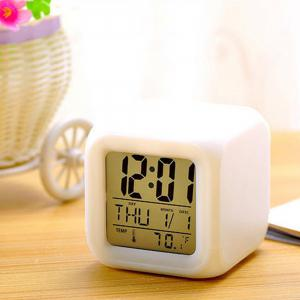 Multiple function Cartoon Child Snooze 7 Color Glowing Change Digital Alarm Clock LED Watch Glowing Alarm Thermometer Clock -