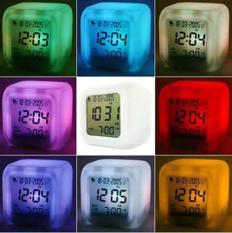 Sale Multi function Cartoon Child Snooze 7 Color Glowing Change Digital Alarm Clock LED Watch Glowing Alarm Thermometer Clock