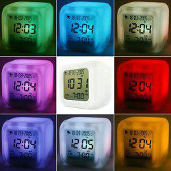 Multi function Cartoon Child Snooze 7 Color Glowing Change Digital Alarm Clock LED Watch Glowing Alarm Thermometer Clock -