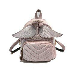 Wings Backpack Travel Handbags Velvet Corduroy College Wind Small Student Bag -