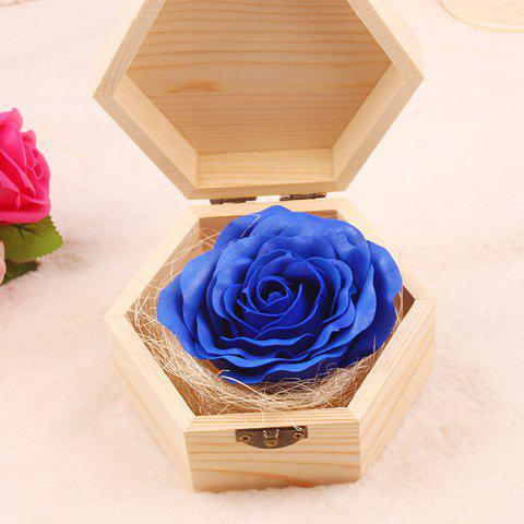 Store Soap Flower Sweet Solid Artificial Rose Flower With Wooden Box