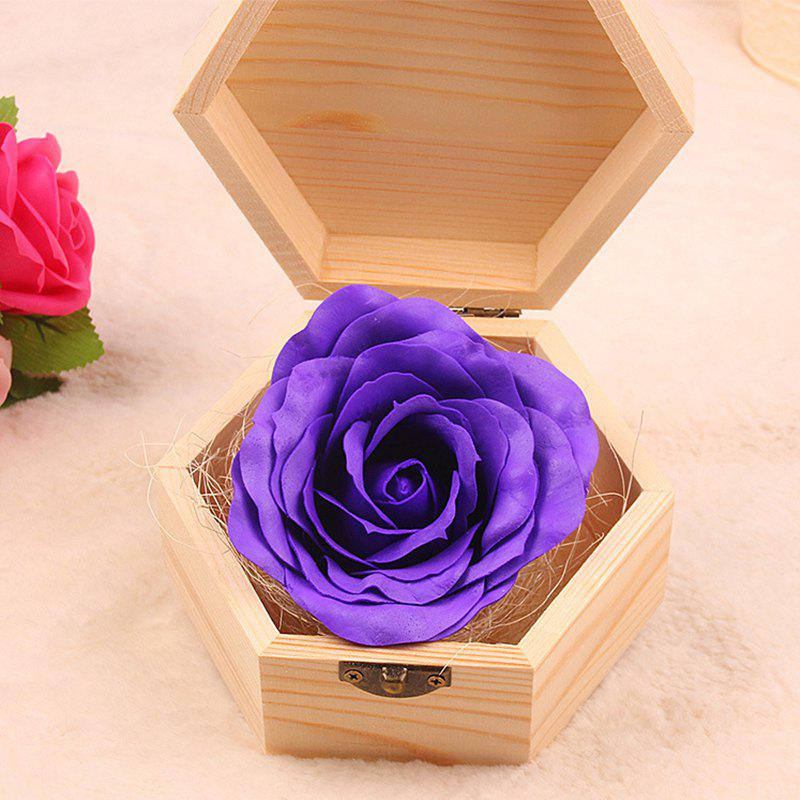 Shop Soap Flower Sweet Solid Artificial Rose Flower With Wooden Box