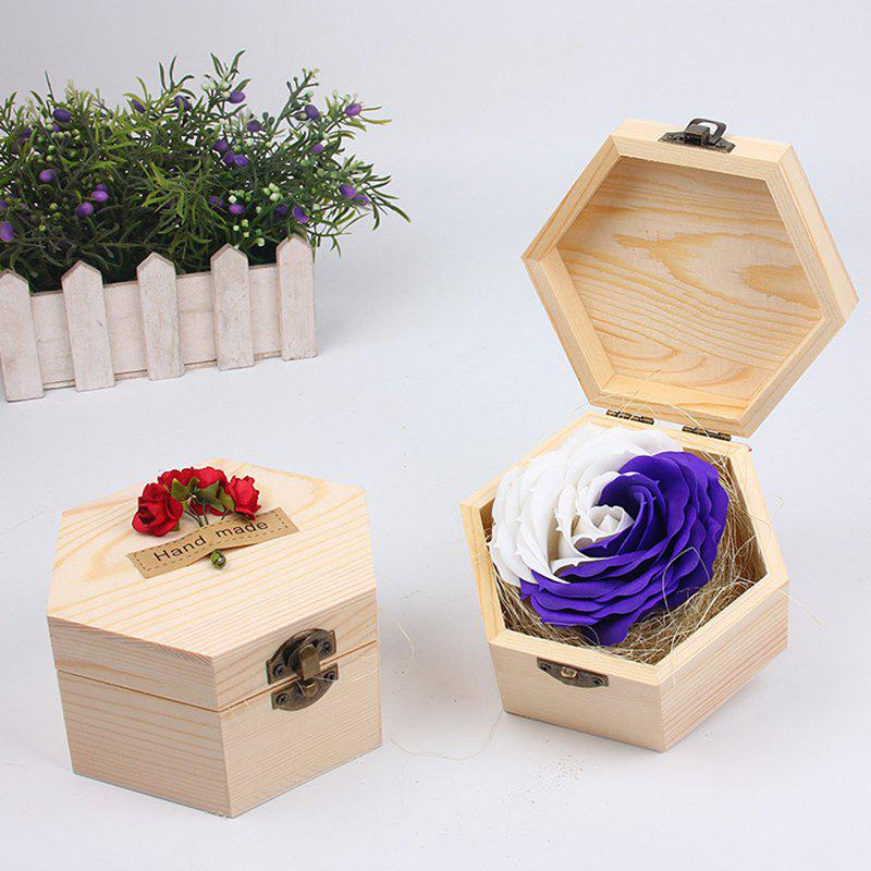 Online Soap Flower Sweet Solid Artificial Rose Flower With Wooden Box