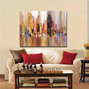 Pure Handmade Abstract Building Oil Painting on Canvas Living Room Wall Decor No Frame -