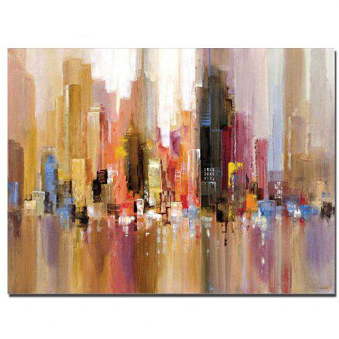 Unique Pure Handmade Abstract Building Oil Painting on Canvas Living Room Wall Decor No Frame