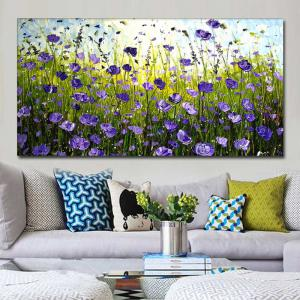 Hand Painted Abstract Purple Field Landscape Oil Painting on Canvas Living Room Bedroom Wall Decor No Framed -