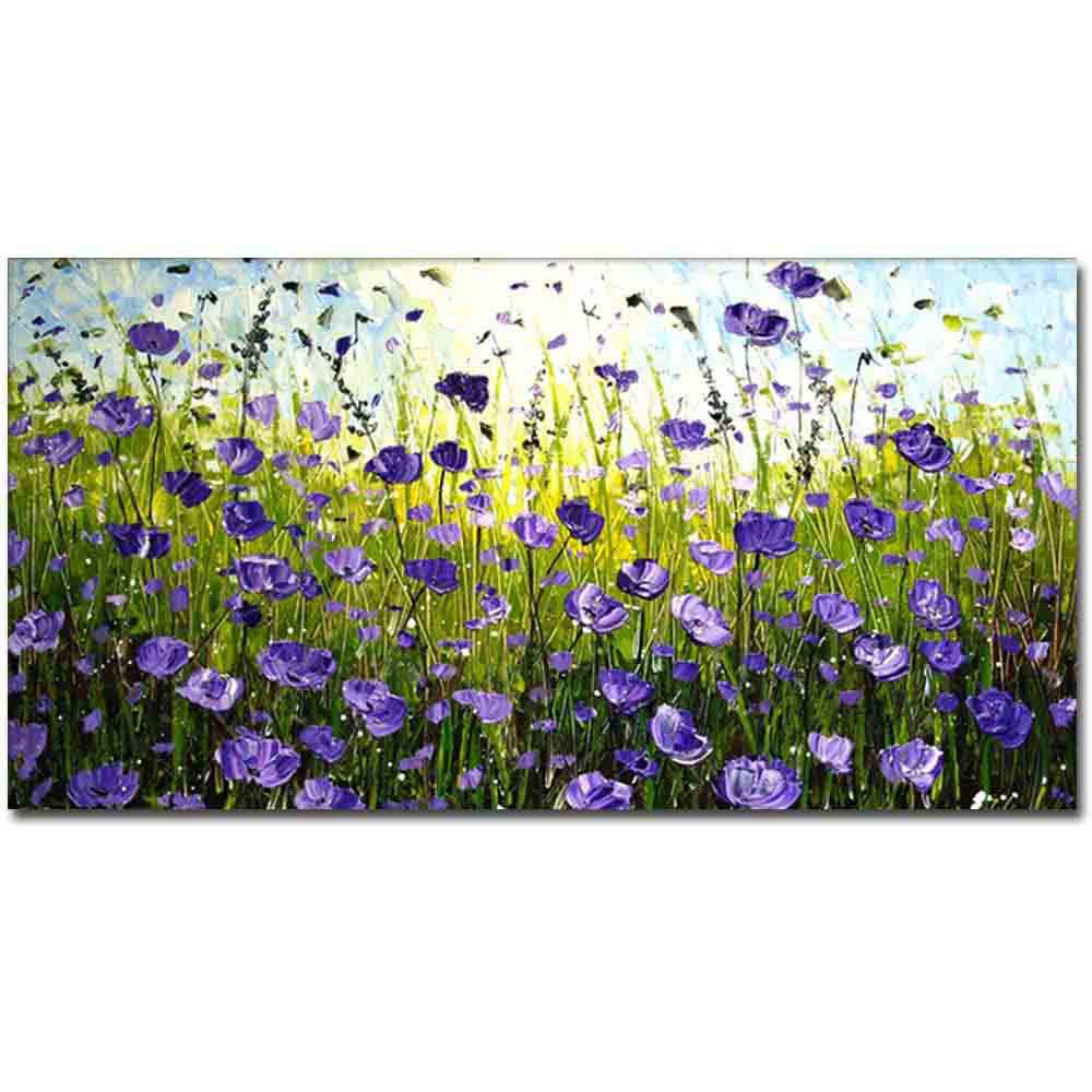 New Hand Painted Abstract Purple Field Landscape Oil Painting on Canvas Living Room Bedroom Wall Decor No Framed