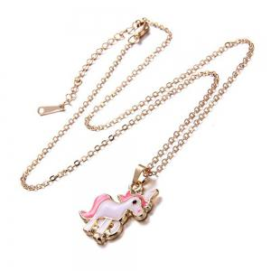 Pink Unicorn Necklace Earrings -