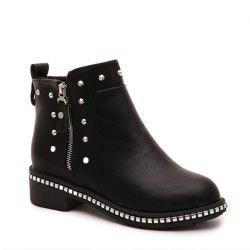 Winter Fashion Leisure Round Head Rivet Comfortable Flat Martin Boots -