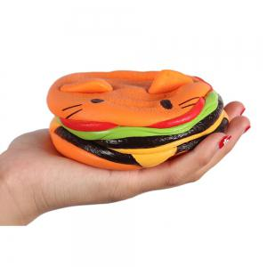 Biging 4 Inch Kawaii Cat Hamburger Bread Squishies Jumbo Slow Rising Stress Toy -