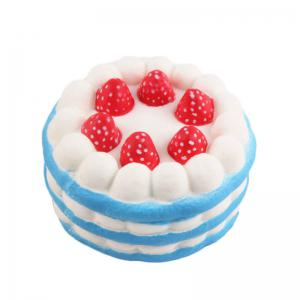 Funny Squishy Toy Made By Enviromental PU Material Replica Three-tiered Strawberry Cake for Different Age Group -