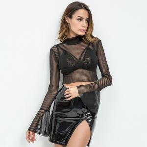 2018 Hot Style Black Adjustable Hollowed-Out Lace-Horn Long-Sleeve T-Shirt -