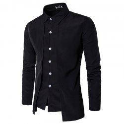 Men's New Fake Two-Piece Casual Double-Breasted Fashion Long-Sleeved Shirt -