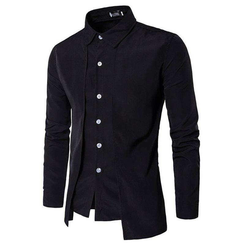 Store Men's New Fake Two-Piece Casual Double-Breasted Fashion Long-Sleeved Shirt
