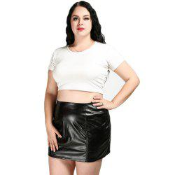 Cute Ann Women's Sexy High Waist Plus Size Faux Leather Skirt -