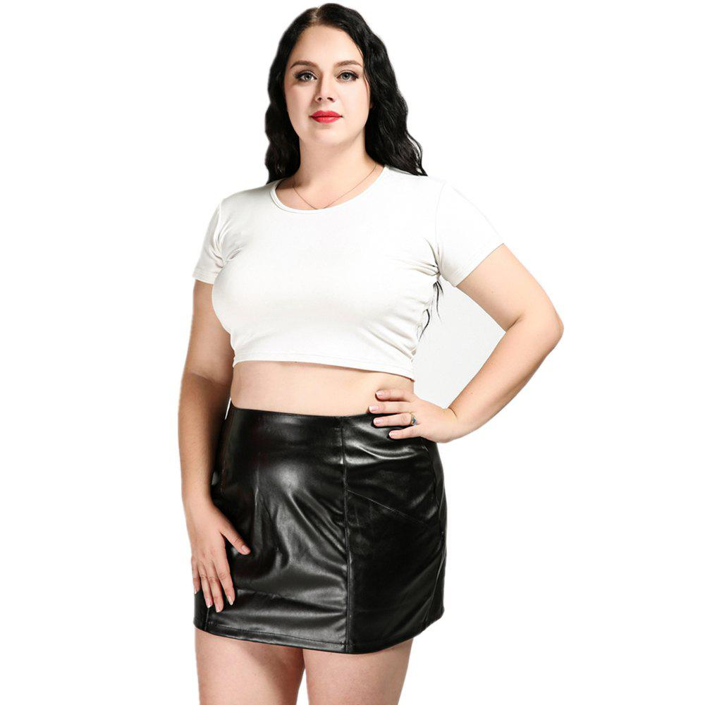 Hot Cute Ann Women's Sexy High Waist Plus Size Faux Leather Skirt