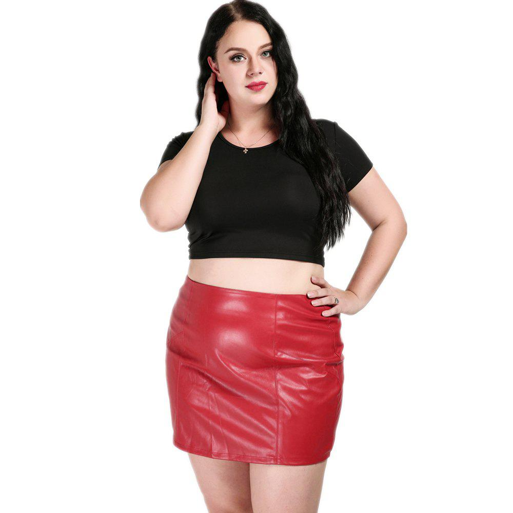 Online Cute Ann Women's Sexy High Waist Plus Size Faux Leather Skirt