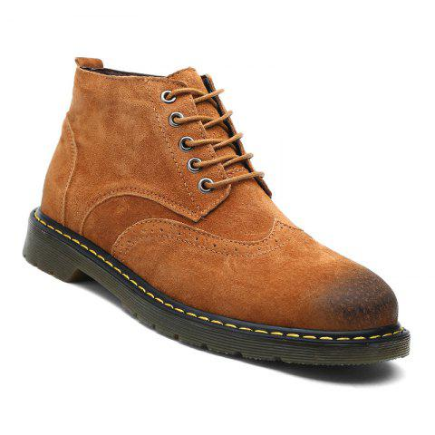 Cheap Men's Casual  Leather Soft Cowhide Retro Martin Boots