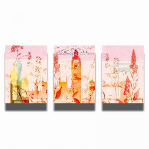 QiaoJiaHuaYuan No Frame Canvas Three Pieces of Painting Abstract Scenery Living Room Sofa Background Decoration Hanging -