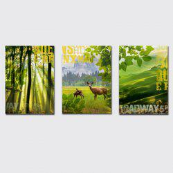 QiaoJiaHuaYuan No Frame Canvas Three Pieces of The Living Room Sofa Background Decorated With Green Forest Scenery -