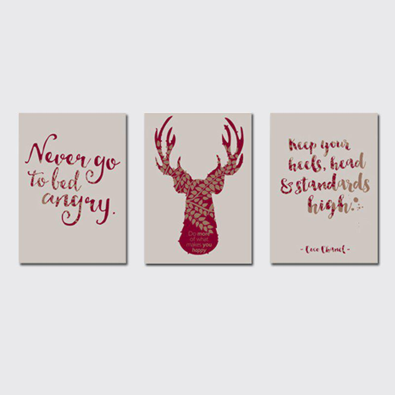 Sale QiaoJiaHuaYuan No Frame Canvas Tree a Picture of the Living Room Sofa English Letter elk Print